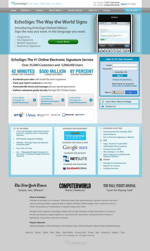 Project Overview Adobe EchoSign Website Redesign Phase 1 Example Co