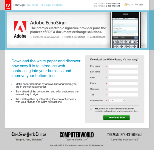 adobe-echosign-co-branded-landing-page-design