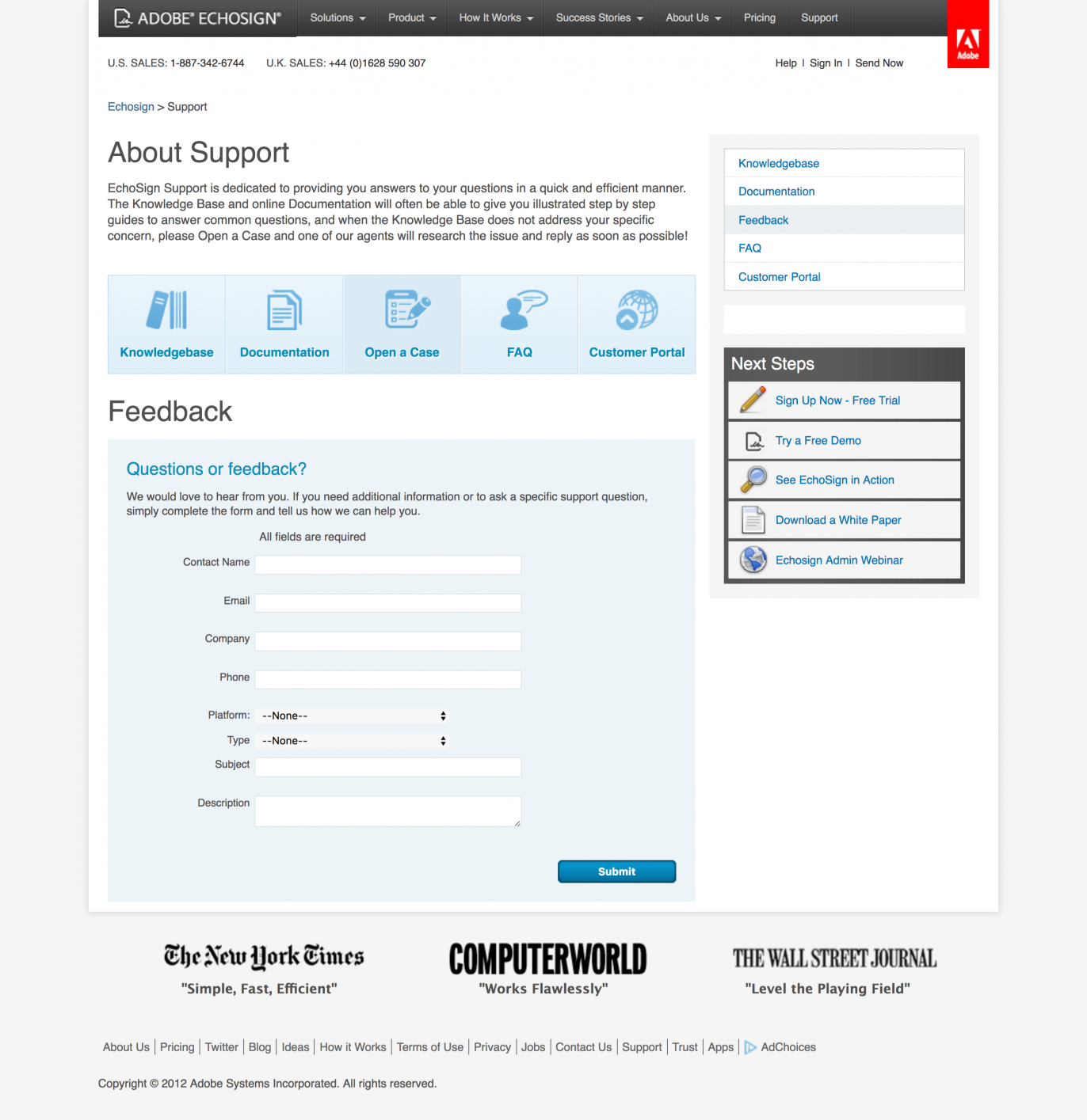 Screenshot of support page