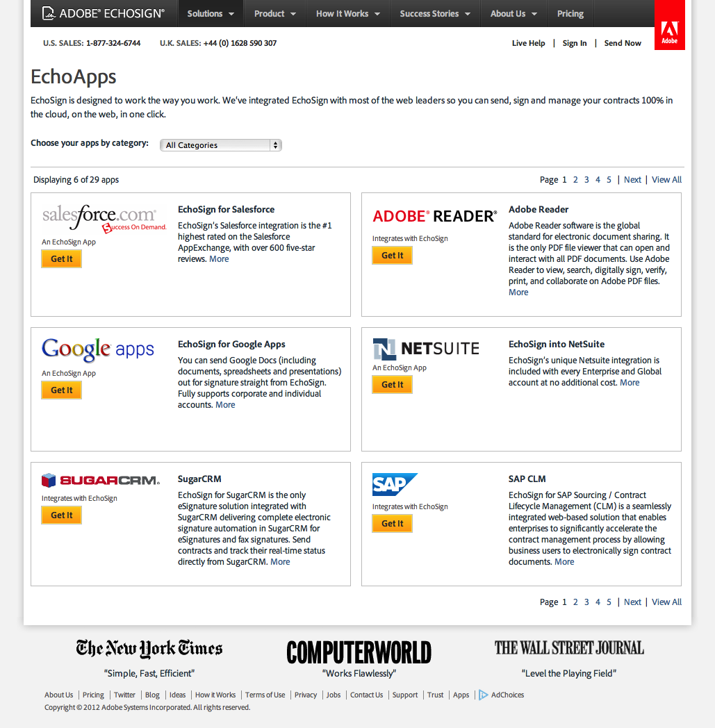 screenshot of redesigned EchoApps page