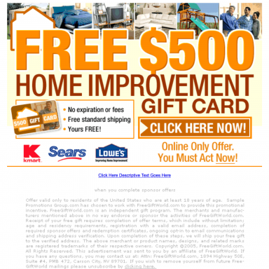 "Project Detail View: Landing Page for Adteractive ""Free $500 Home ..."
