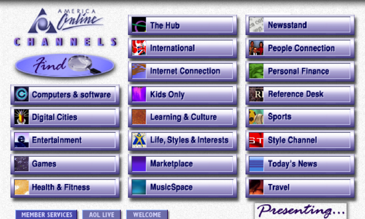 AOL AmericaOnline Channels Screen