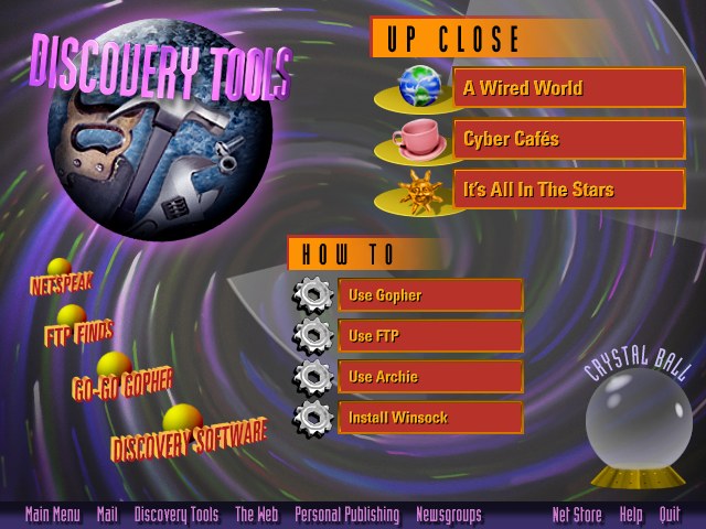 AOL Internet Adventure CD-ROM discovery-tools Section Screen Design