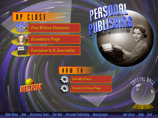 AOL Internet Adventure CD-ROM personal-publishing Section Screen Design