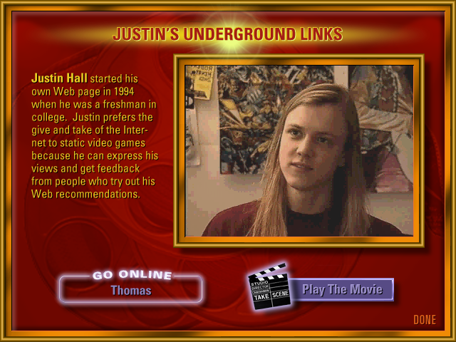 AOL Internet Adventure CD-ROM justins-underground-links Section Screen Design