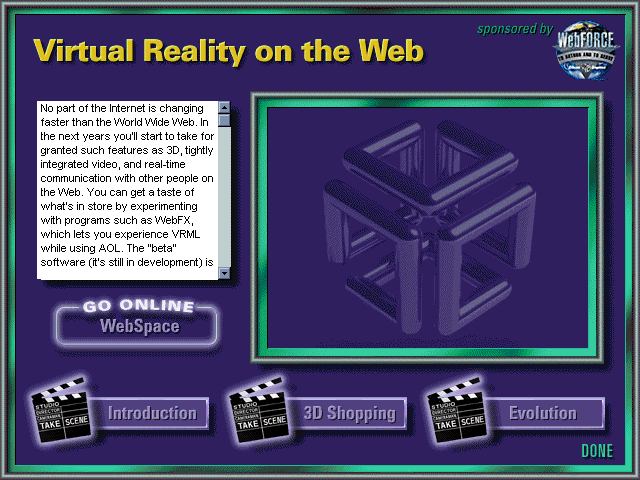 AOL Internet Adventure CD-ROM virtual-reality-on-the-web Section Screen Design