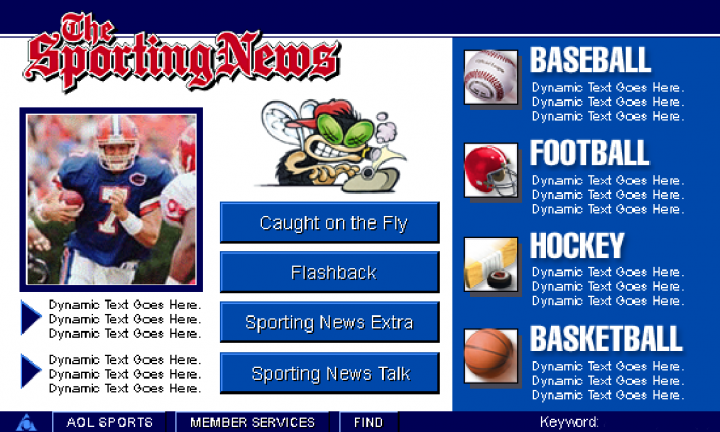 AOL The Sporting News Channel: Main Menu Screen