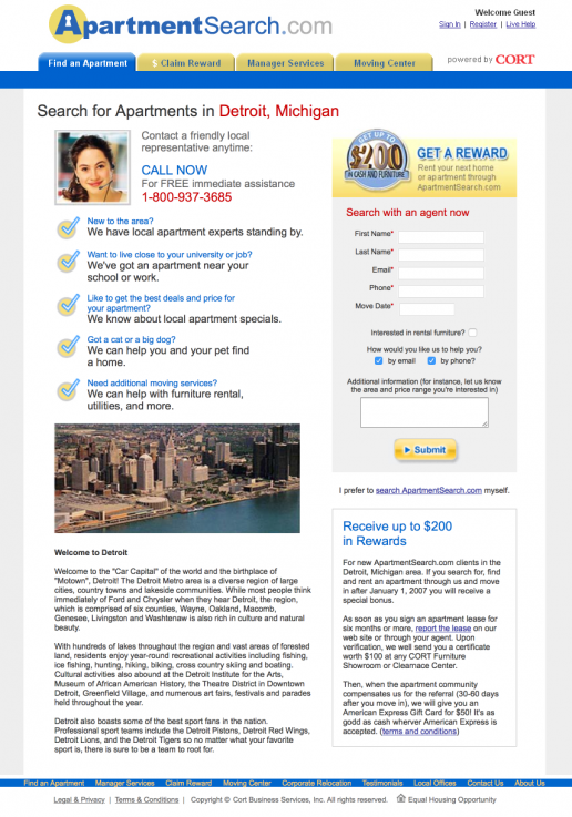 ApartmentSearch.com City Region Based A/B Landing Page Test Variation 1