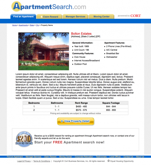 Apartment Search: SEO Property Name Keyword Focused Landing Page