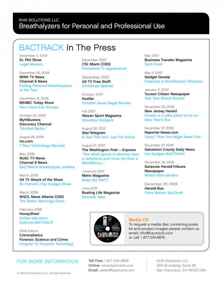 "BACtrack Breathalyzer ""In The Press"" Information Sheet Back"