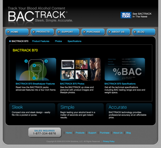 BACtrack Breathalyers B70 Product Page