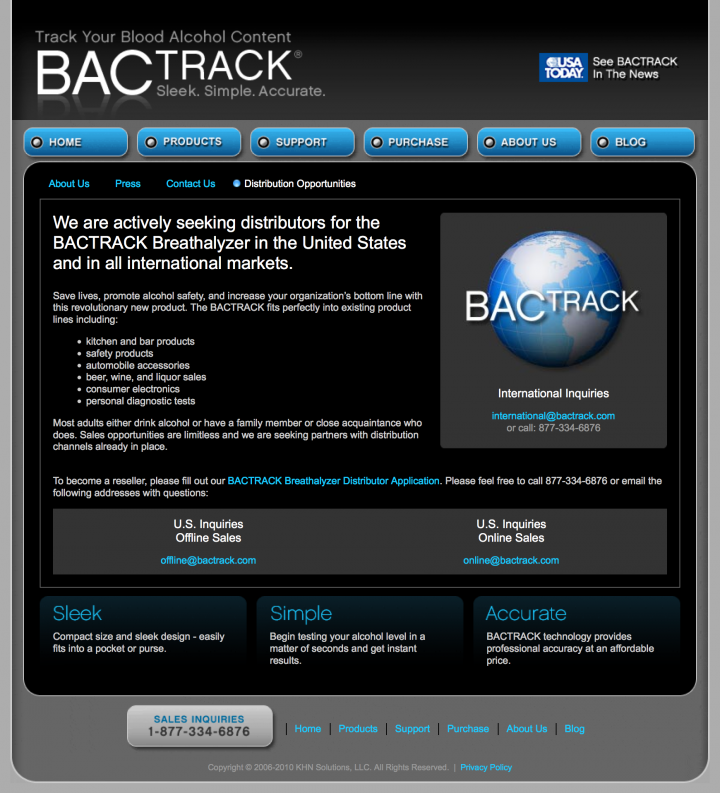 BACtrack Breathalyzers Distribution Opportunities Page