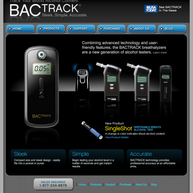 BACtrack Breathalyers Home Page