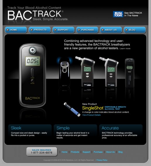 BACtrack Breathalyzers Home Page