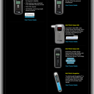 BACtrack Breathalyers Products Page