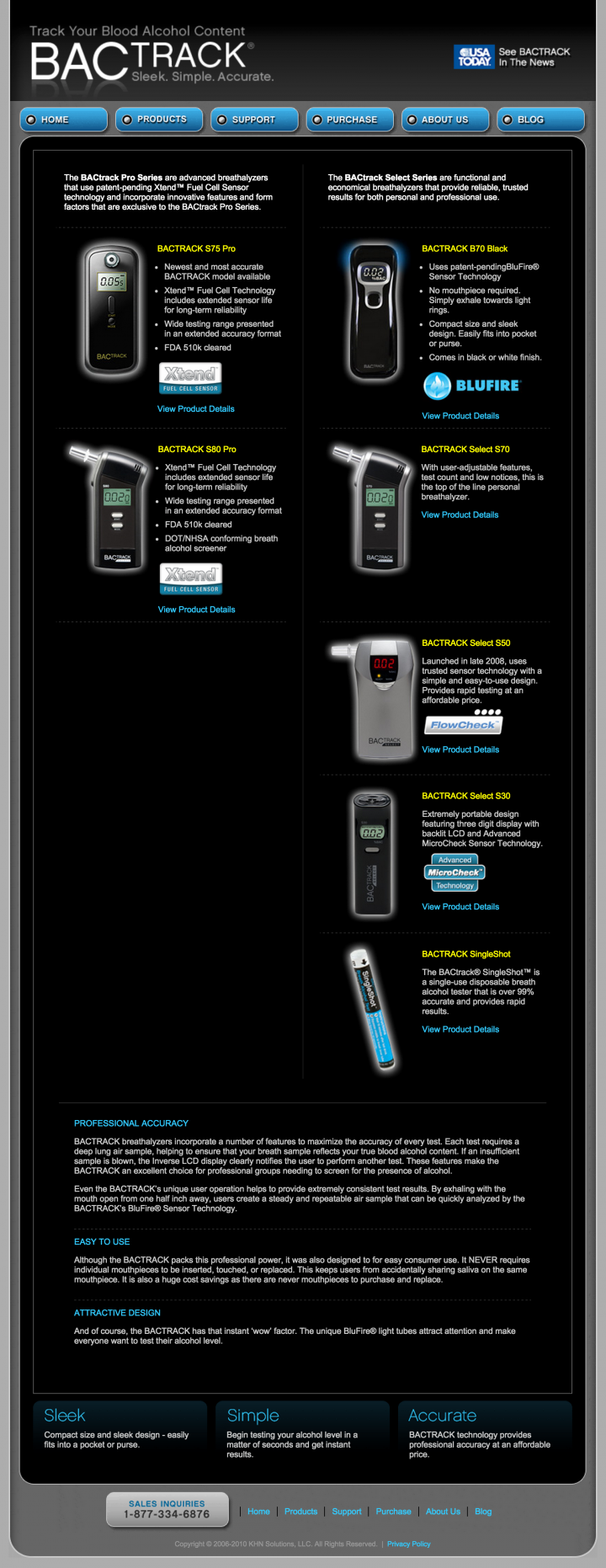 BACtrack Breathalyzers Products Page