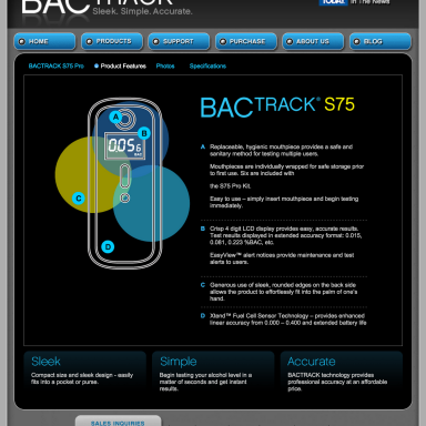 BACtrack Breathalyers S75 Product Features Page