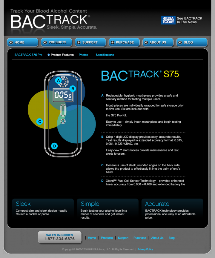 BACtrack Breathalyzers S75 Product Features Page