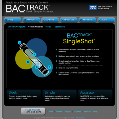 BACtrack Breathalyers Singleshot Product Features Page
