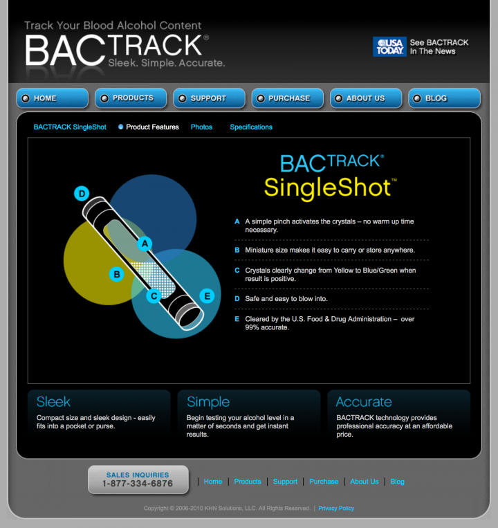 BACtrack Breathalyzers Singleshot Product Features Page