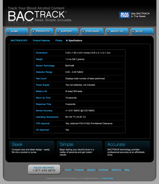 bactrack-breathalyzers-specifications-example-page