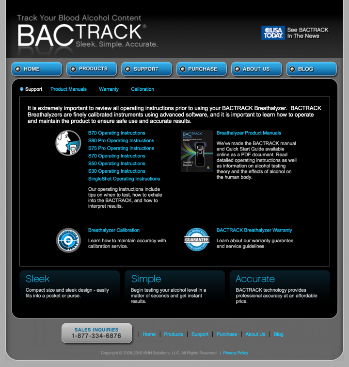 BACtrack Breathalyzers Support Page