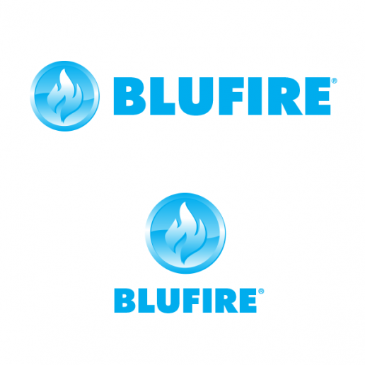 BLUFIRE Logo Design on White Background