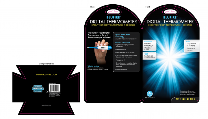 BluFire Digital Thermometer Clamshell Packaging Header Card Design