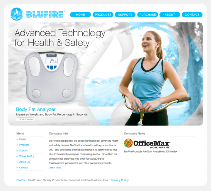 BluFire Homepage - version 3