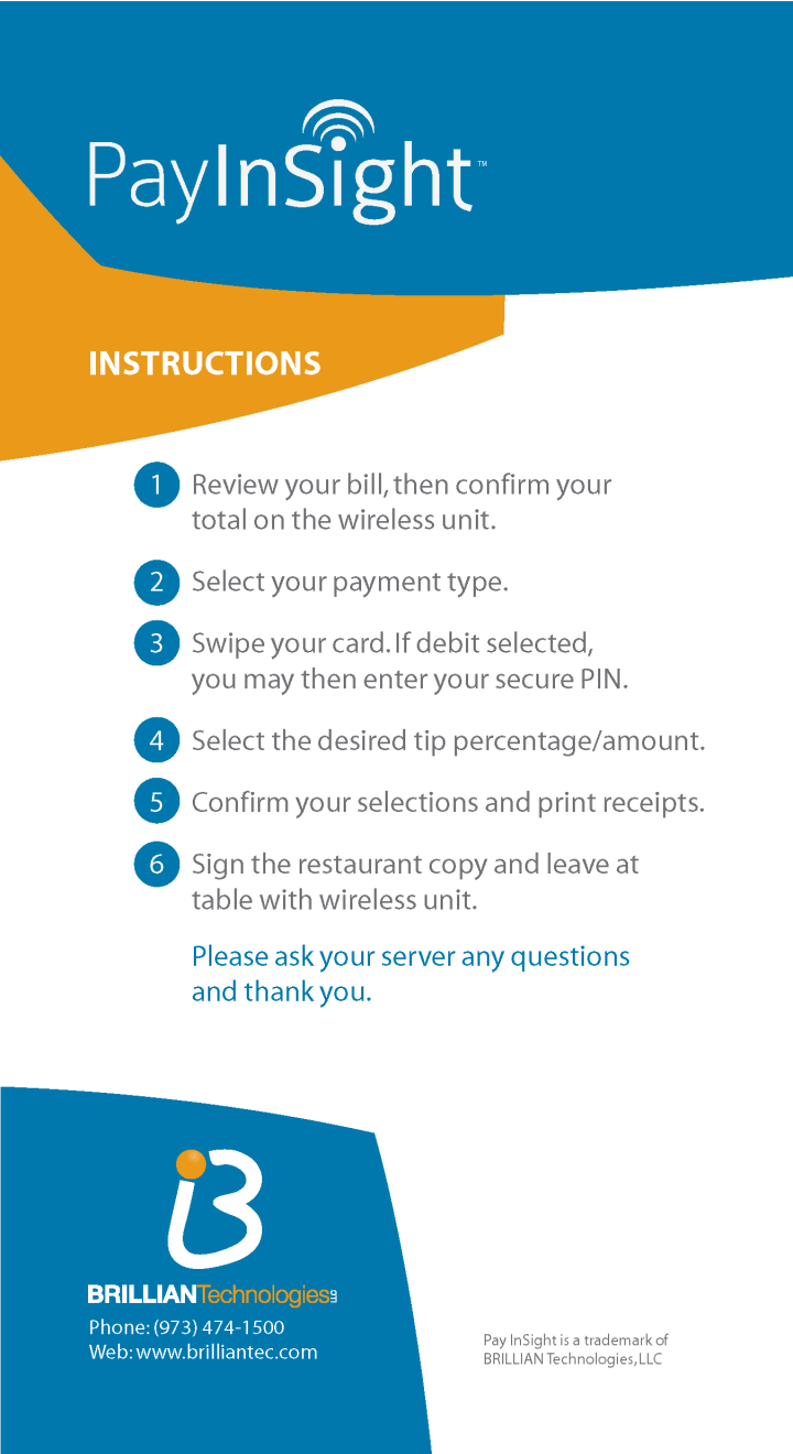 Brillian PayInsight™ Pay-At-The-Table Information Leaflet for Dining Customers - Back