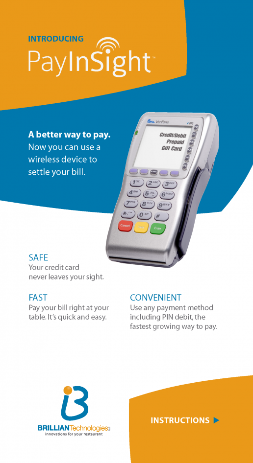 Brillian Pay Insight Pay-At-The-Table Information Leaflet for Dining Customers - Back
