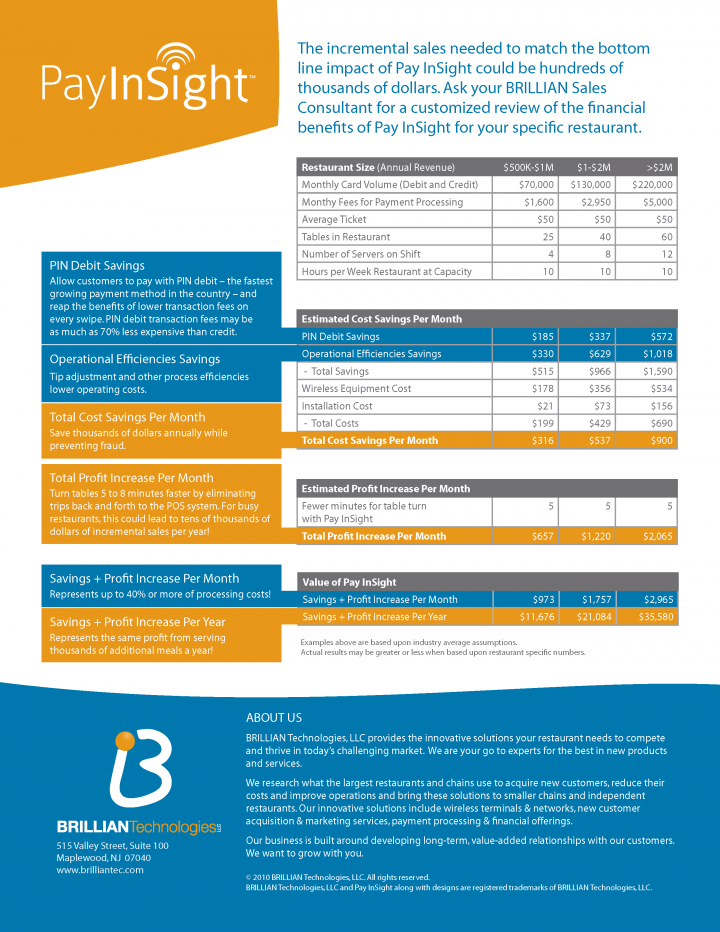 "Brillian PayInsight™ ""Pay At The Table"" Brochure Back"