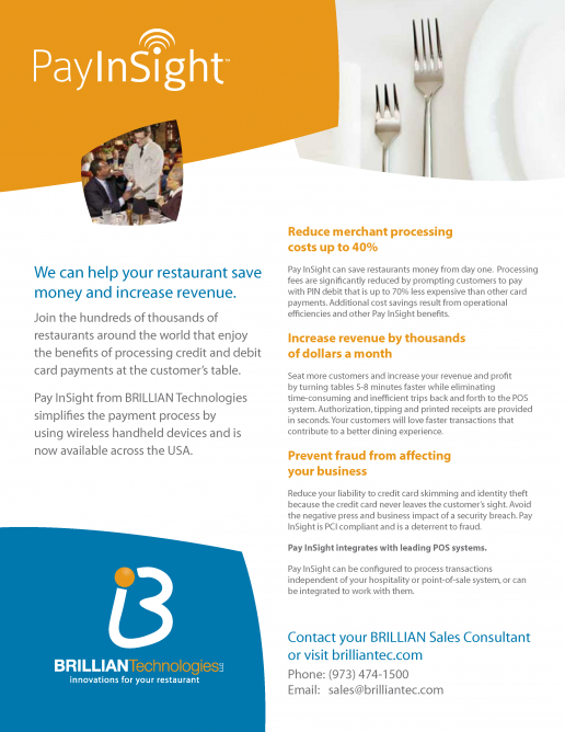 "Brillian Pay Insight ""Pay At The Table"" Brochure"