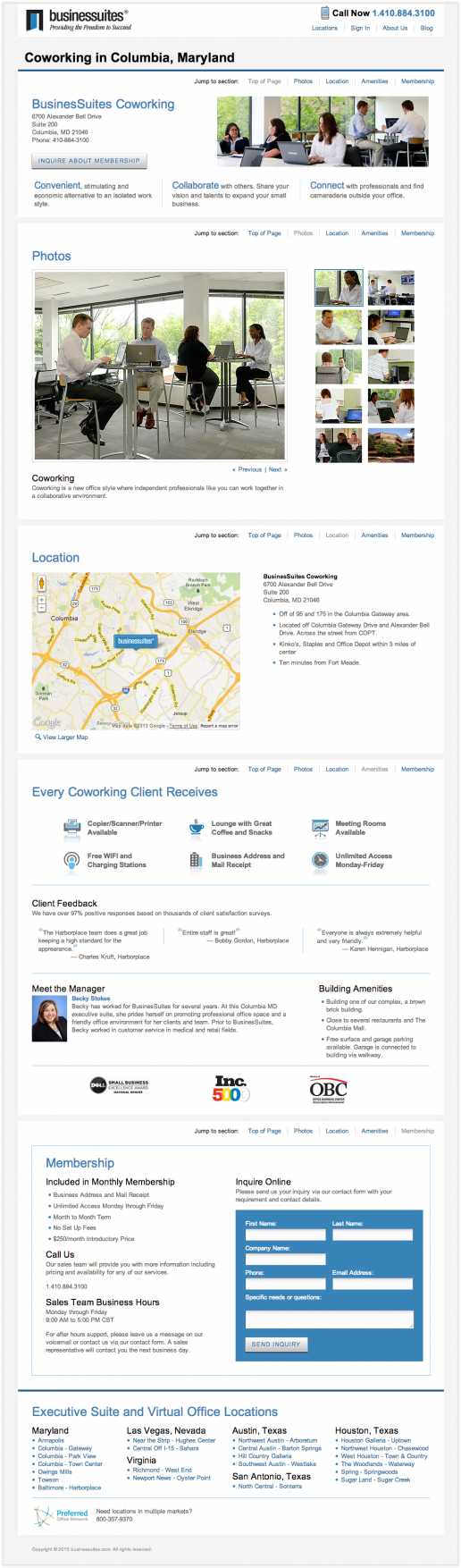 BusinesSuites Coworking Example Page 2