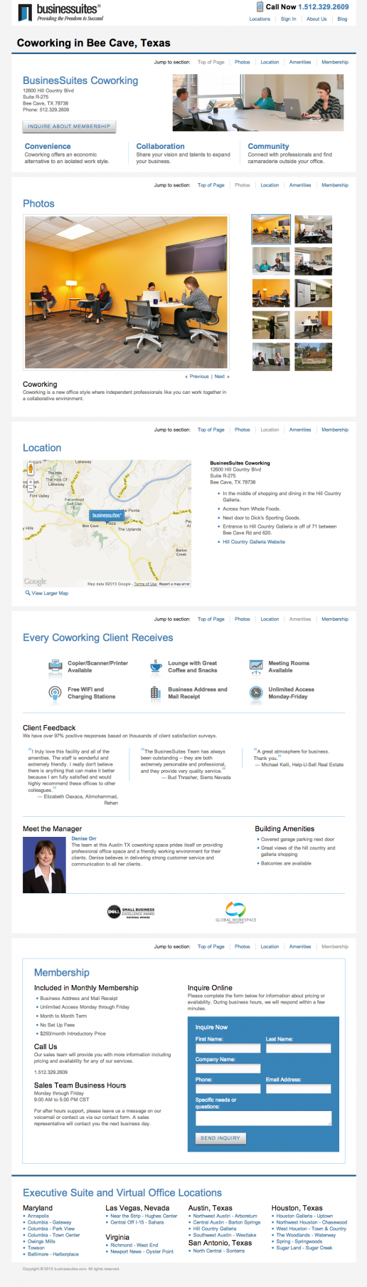 BusinesSuites Coworking Example Page