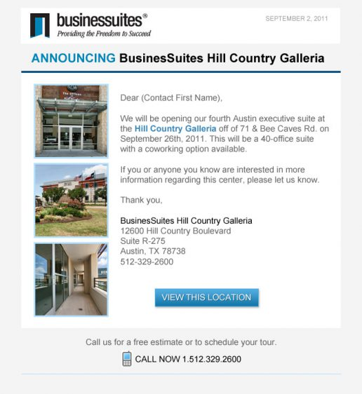 BusinesSuites New Property Opening Announcement Email – Version 2