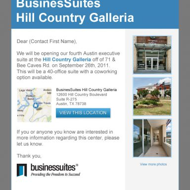 BusinesSuites New Property Opening Announcement Email - Version 3