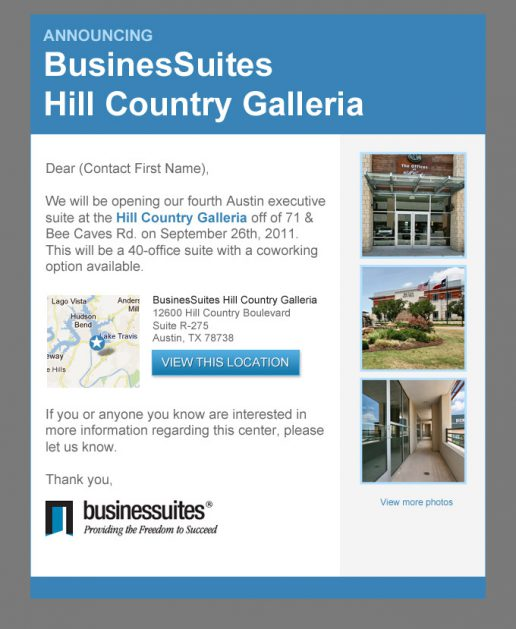 BusinesSuites New Property Opening Announcement Email – Version 3
