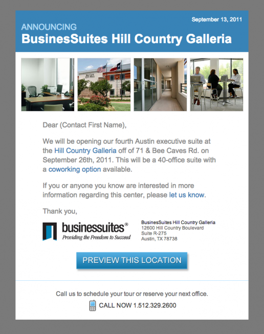 BusinesSuites Email – New Property Annoucement