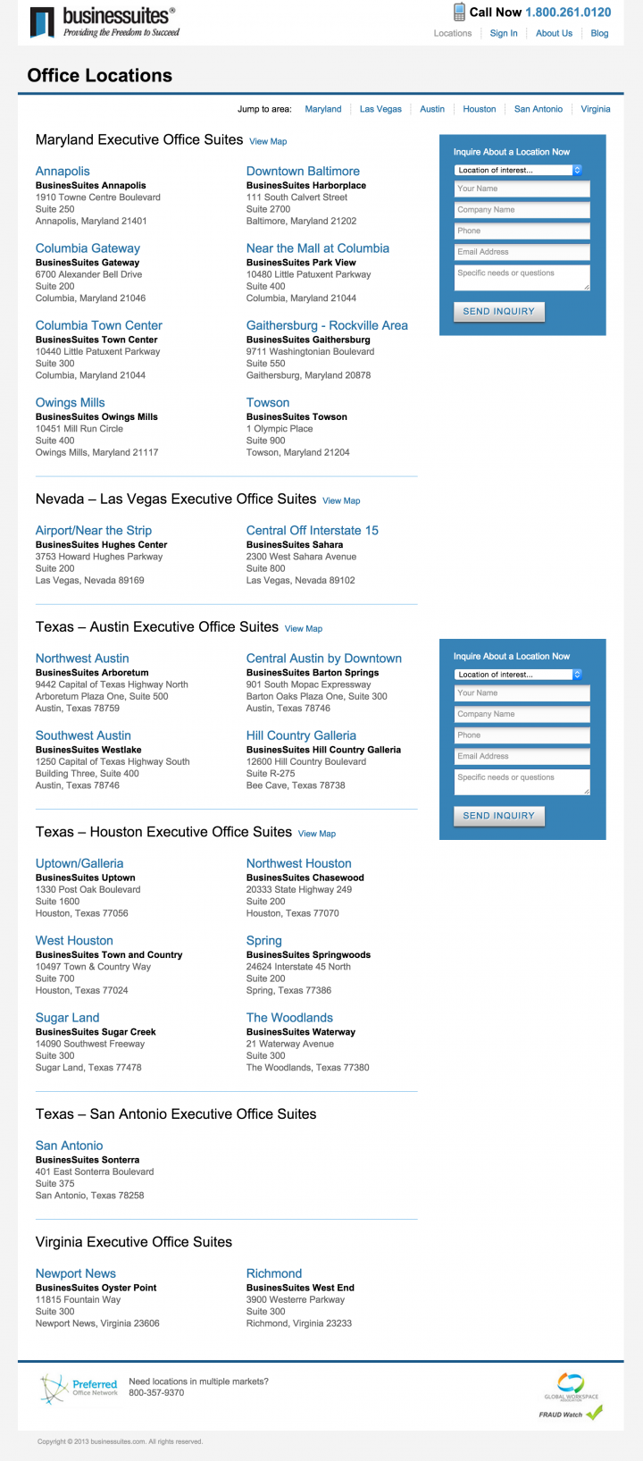 BusinesSuites Office Locations Page