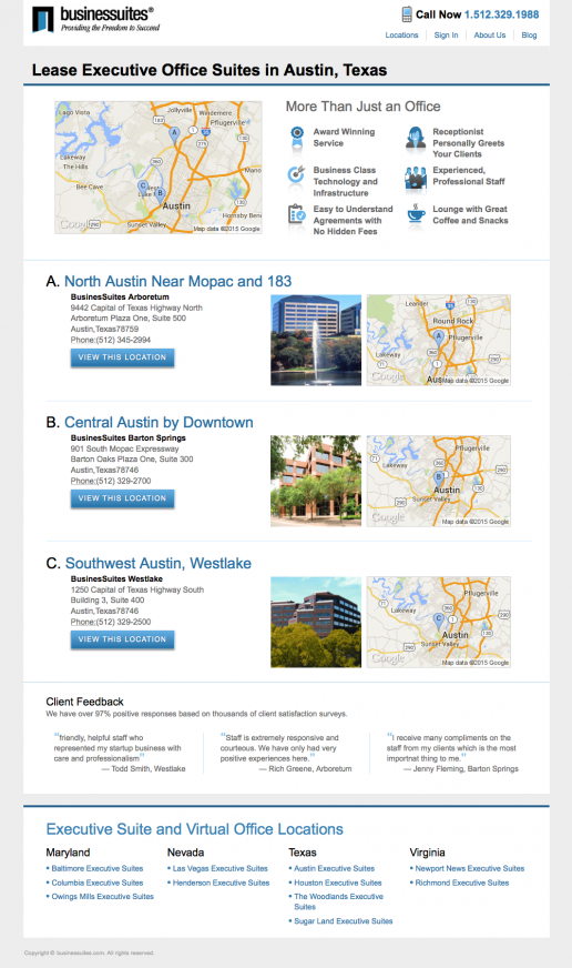 BusinesSuites Market or Region Page – Example 2