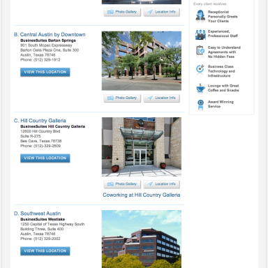 BusinesSuites Market or Region Page