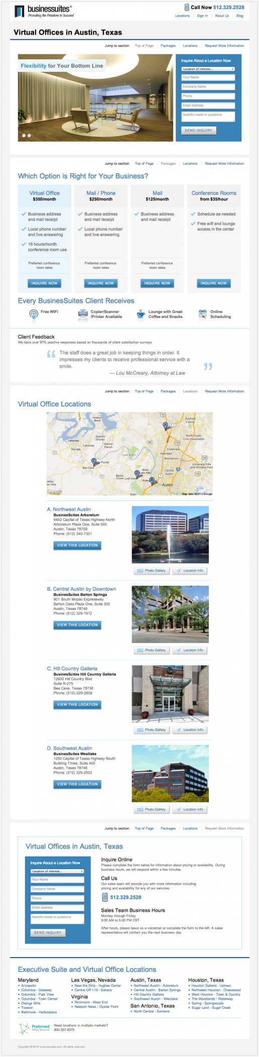 BusinesSuites Virtual Offices Page – version 1