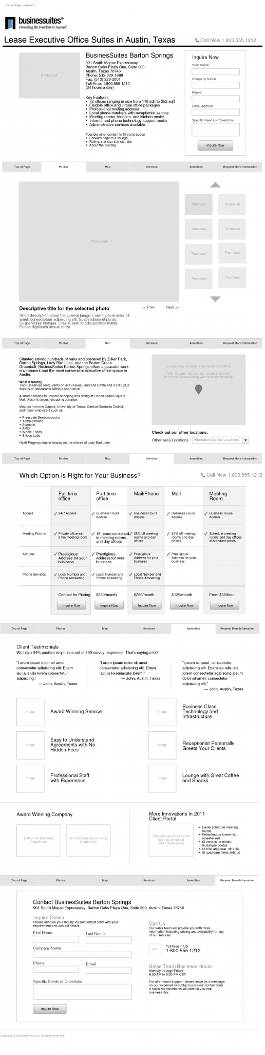 BusinesSuites 2011 Website Redesign Initial Subpage Wireframe Alternatives