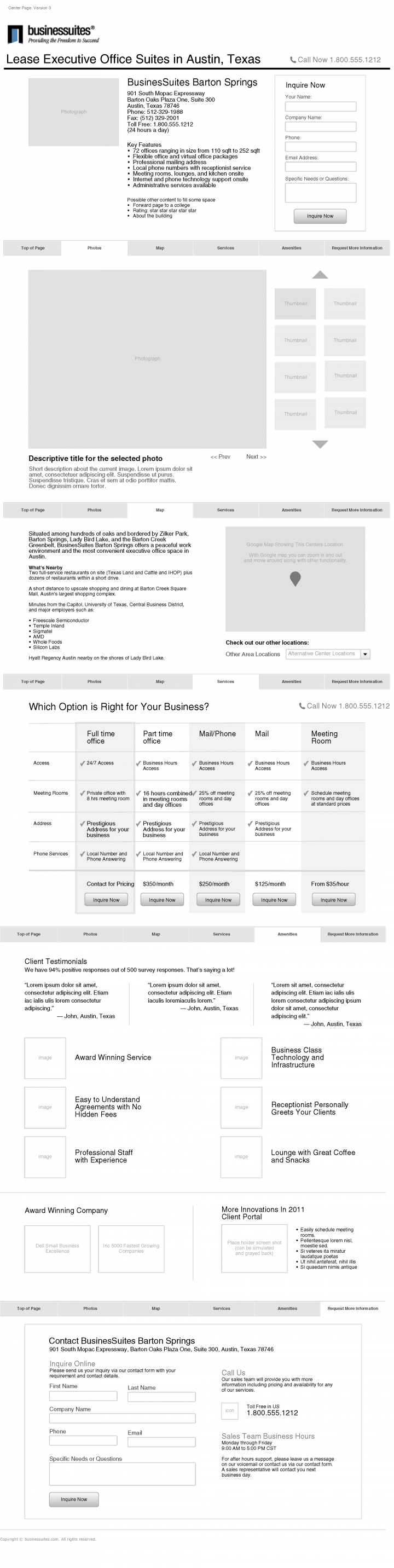 BusinesSuites Website Redesign Initial Subpage Wireframe Alternatives
