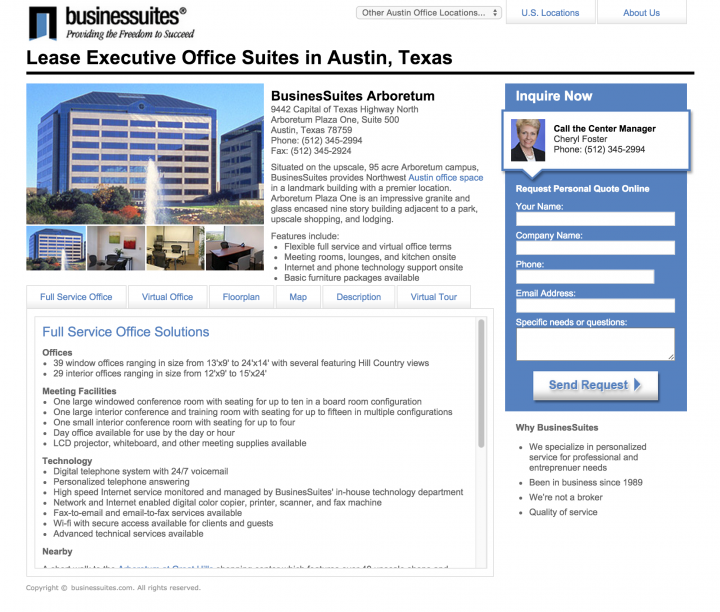BusinesSuites 2008 Landing Page Redesign