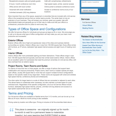 BusinesSuites Office Services Landing Page for Full Service Executive Offices