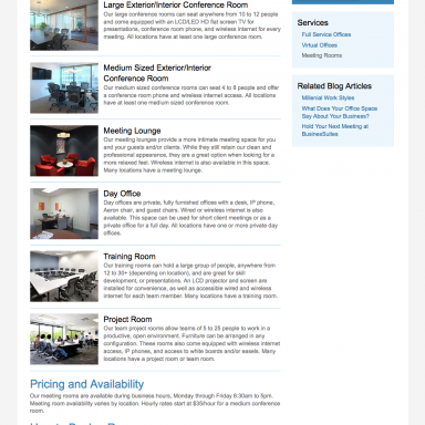 BusinesSuites Office Services Landing Page for Meeting Rooms