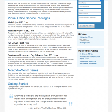 BusinesSuites Office Services Landing Page for Virtual Offices
