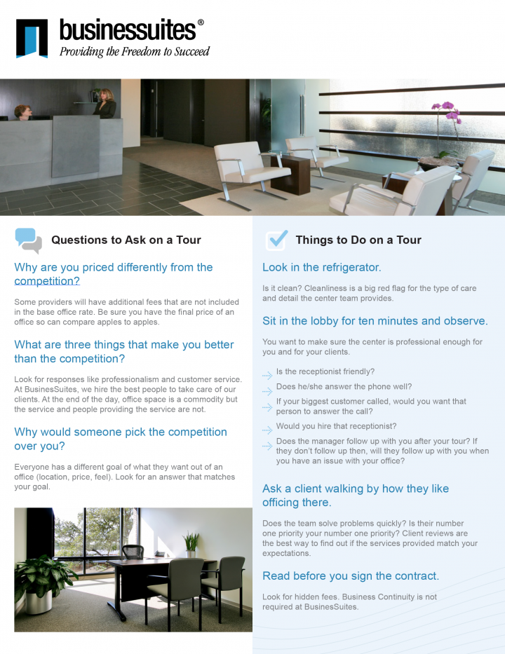BusinesSuites Printed Flyer Handout for Potential Customers